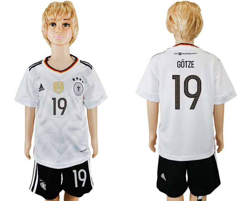Germany 19 GOTZE Home 2017 FIFA Confederations Cup Youth Soccer Jersey