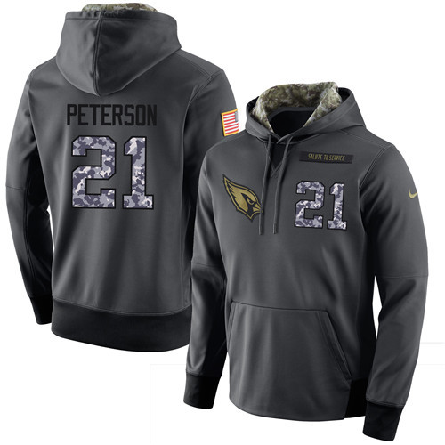 Nike Cardinals 21 Patrick Peterson Anthracite Salute to Service Pullover Hoodie