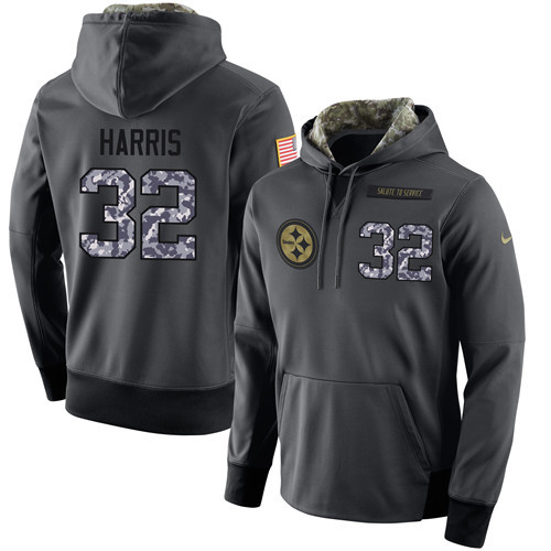 Nike Steelers 32 Franco Harris Anthracite Salute to Service Pullover Hoodie