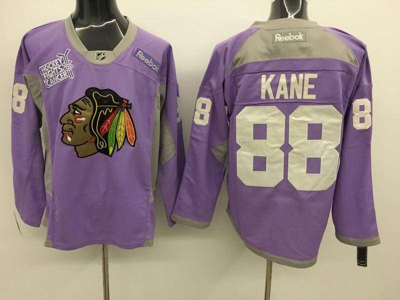 Blackhawks 88 Patrick Kane Purple Hockey Fights Cancer Reebok Jersey