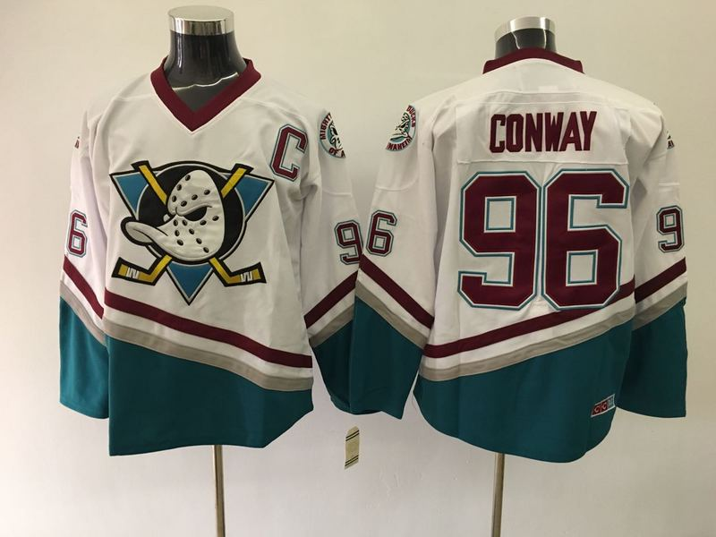 Ducks 96 Charlie Conway White CCM Jersey