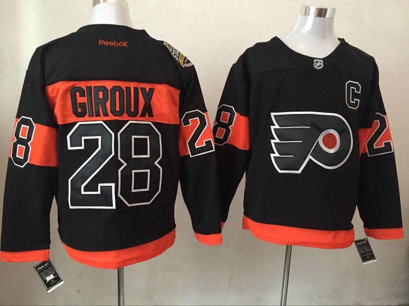 Flyers 28 Claude Giroux Black Reebok Jersey
