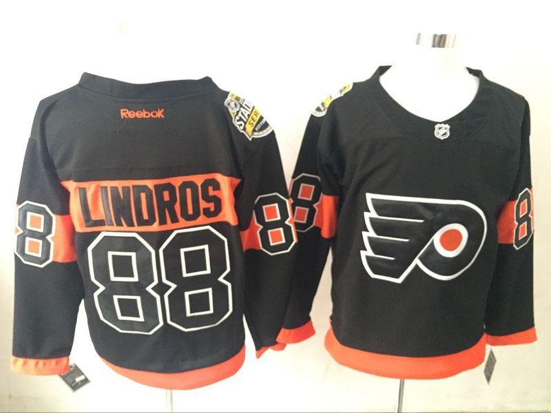 Flyers 88 Eric Lindros Black Reebok Jersey