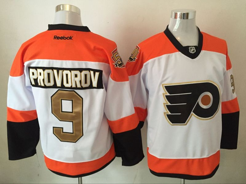 Flyers 9 Ivan Provorov White With 50th Anniversary Patch Reebok Jersey