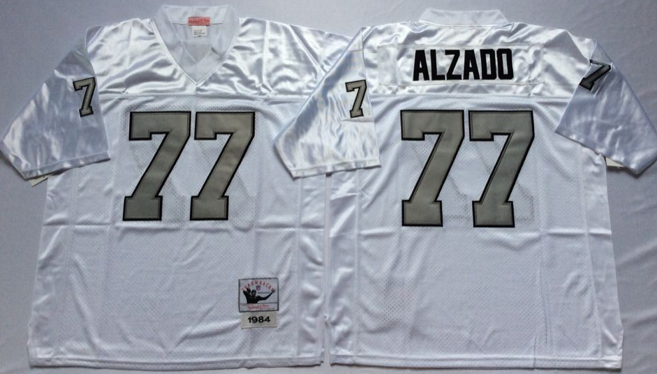 Raiders 77 Lyle Alzado White Silver Number Throwback Jersey