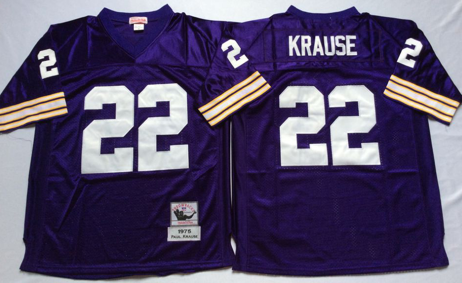 Vikings 22 Paul Krause Purple Throwback Jersey