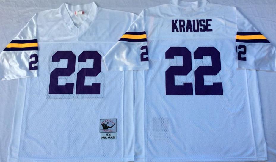 Vikings 22 Paul Krause White Throwback Jersey