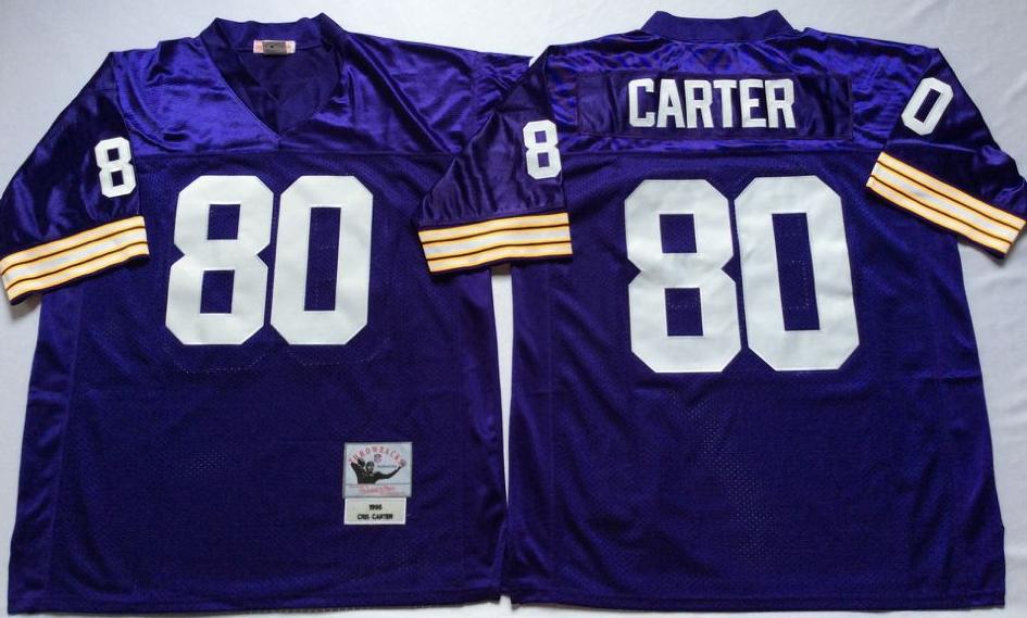 Vikings 80 Cris Carter Purple Throwback Jersey
