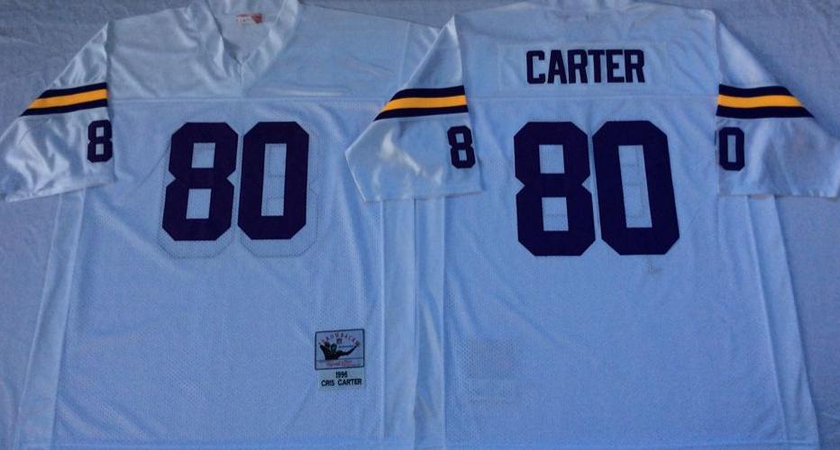 Vikings 80 Cris Carter White Throwback Jersey