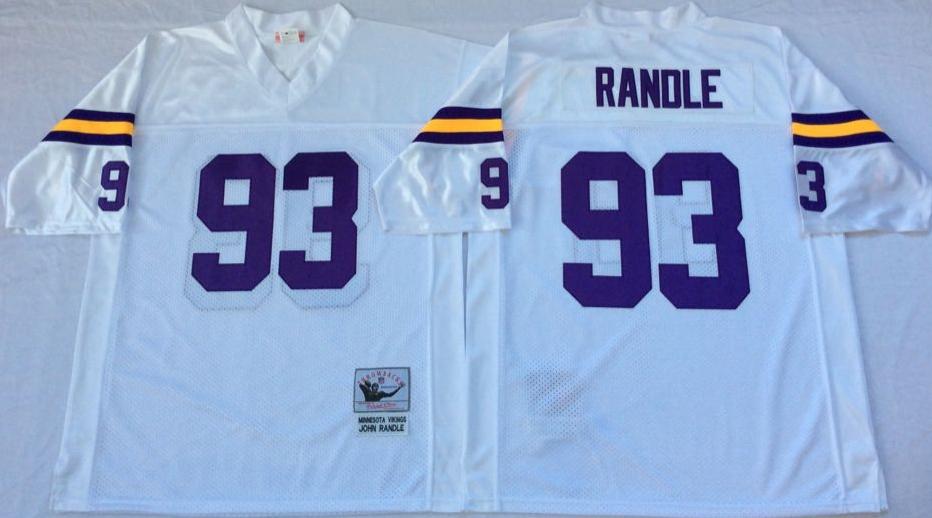 Vikings 93 John Randle White Throwback Jersey