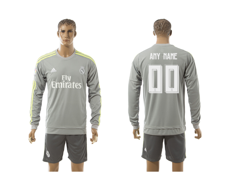 2015-16 Real Madrid Away Long Sleeve Customized Jersey