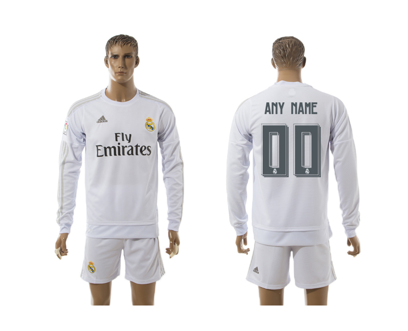 2015-16 Real Madrid Home Long Sleeve Customized Jersey