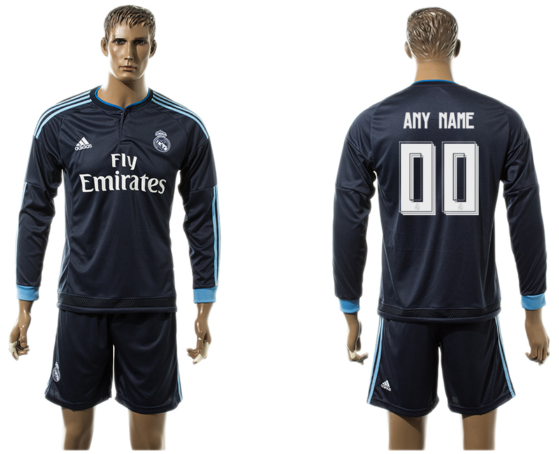 2015-16 Real Madrid Third Away Long Sleeve Customized Jersey