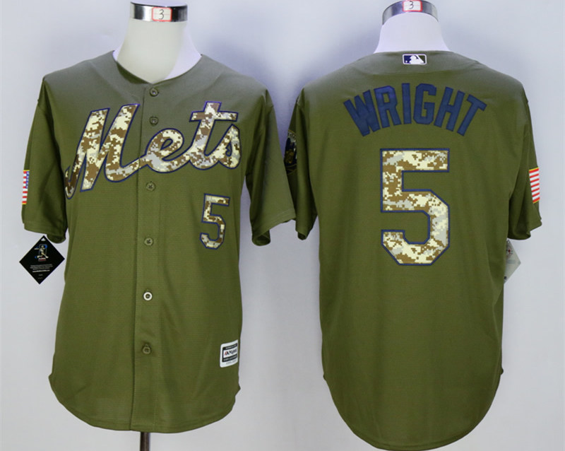 Mets 5 David Wright Olive Green New Cool Base Jersey