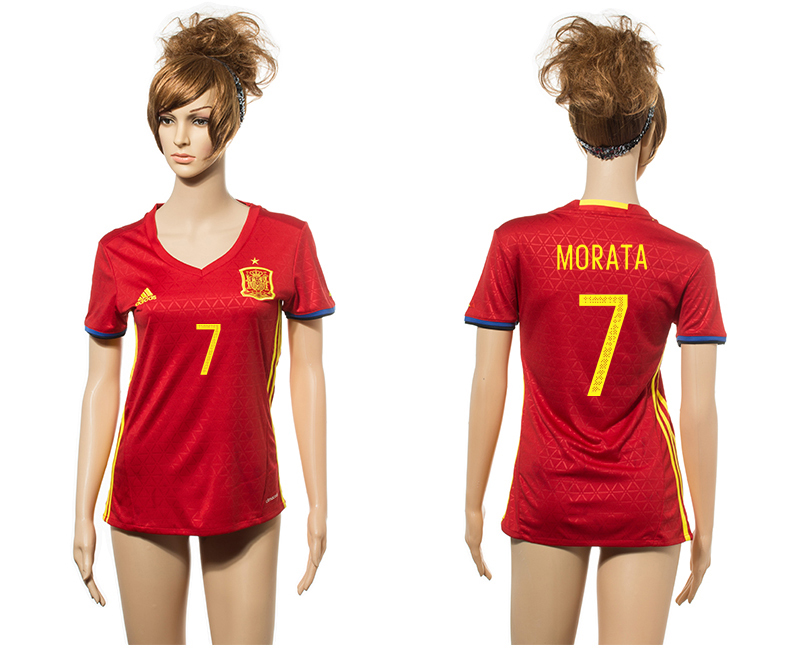 Spain 7 MORATA Home Euro 2016 Women Jersey