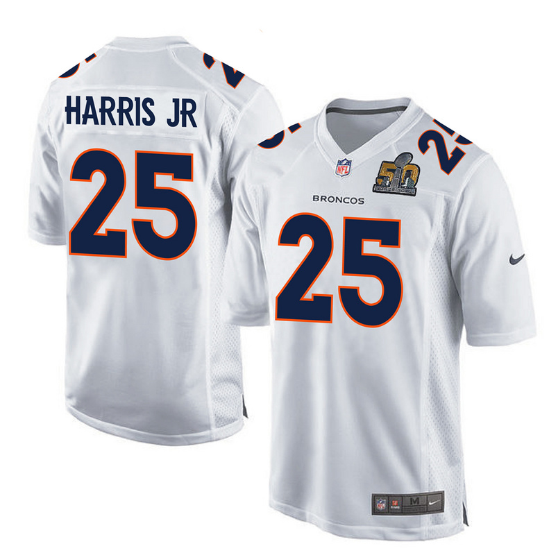 Nike Broncos 25 Chris Harris Jr White Super Bowl 50 Bound Game Event Jersey