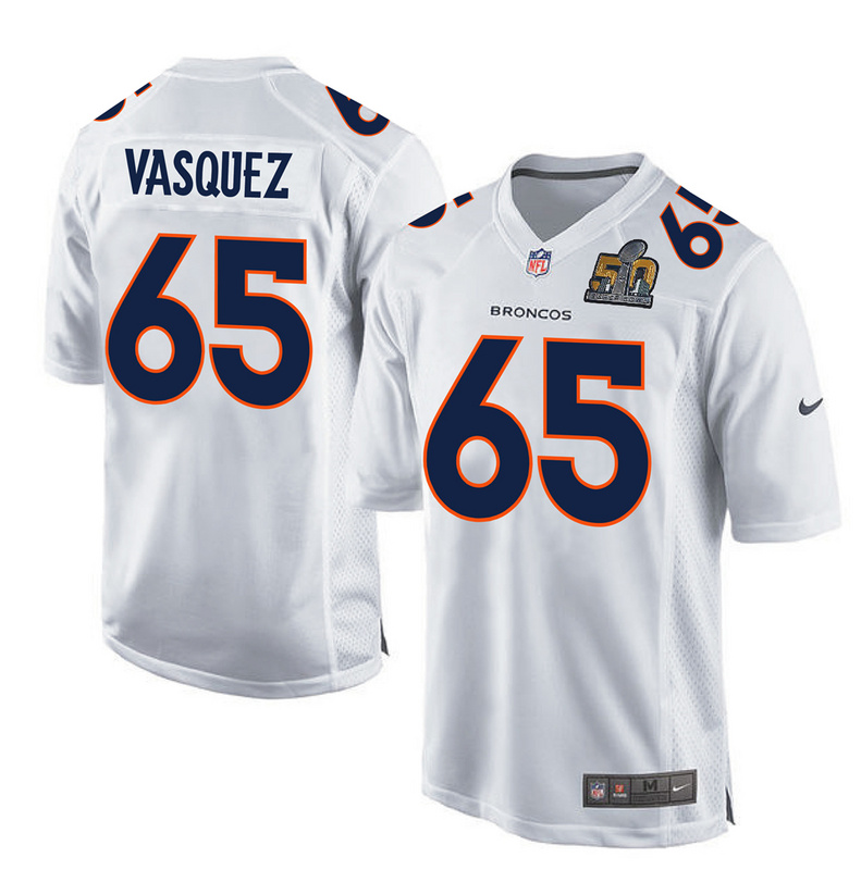 Nike Broncos 65 Louis Vasquez White Super Bowl 50 Bound Game Event Jersey