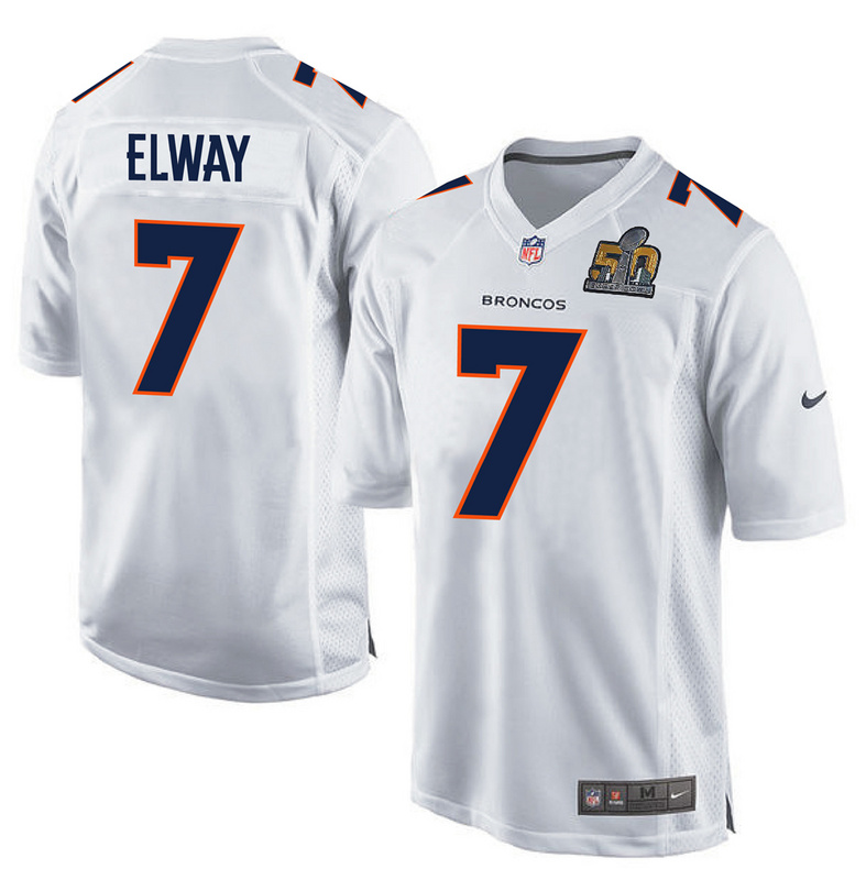 Nike Broncos 7 John Elway White Super Bowl 50 Bound Game Event Jersey