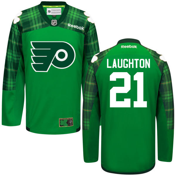 Flyers 21 Scott Laughton Green St. Patrick's Day Reebok Jersey