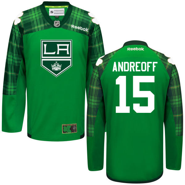 Kings 15 Andy Andreoff Green St. Patrick's Day Reebok Jersey