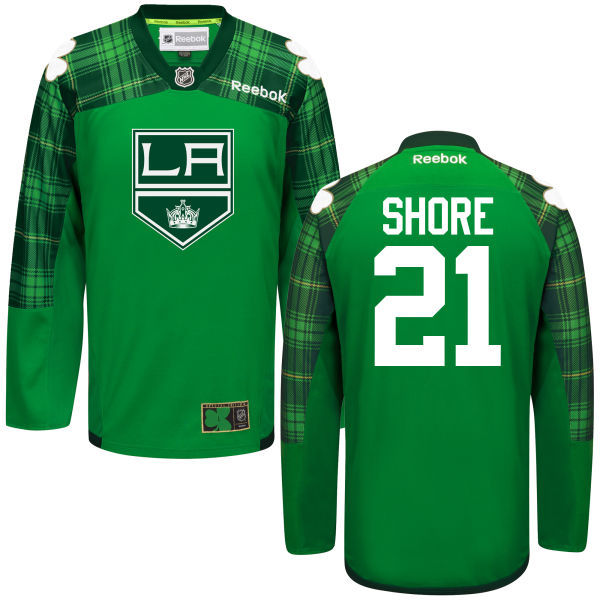 Kings 21 Nick Shore Green St. Patrick's Day Reebok Jersey
