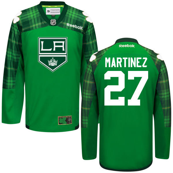Kings 27 Justin Martinez Green St. Patrick's Day Reebok Jersey