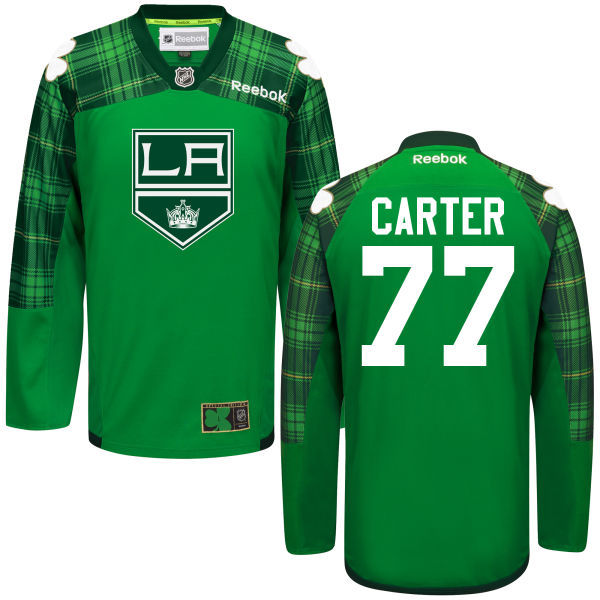 Kings 77 Jeff Carter Green St. Patrick's Day Reebok Jersey