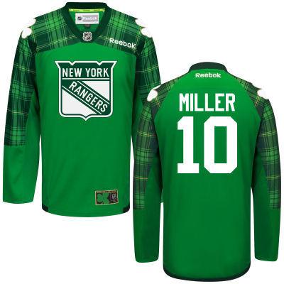 Rangers 10 J.T. Miller Green St. Patrick's Day Reebok Jersey