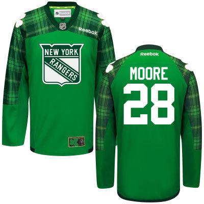 Rangers 28 Dominic Moore Green St. Patrick's Day Reebok Jersey