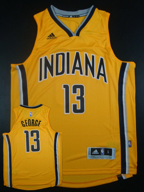 Pacers 13 Paul George Yellow Replica Jersey