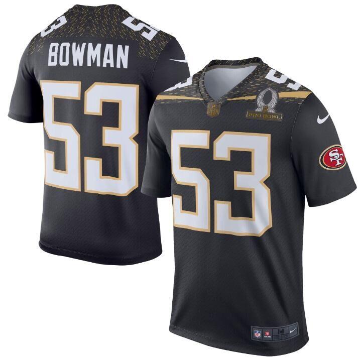 Nike 49ers 53 NaVorro Bowman Black 2016 Pro Bowl Elite Jersey