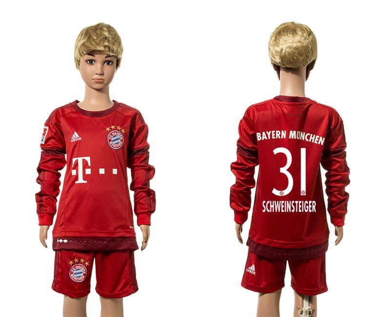 2015-16 Bayern Munich 31 SCHWEINSTEIGER Home Youth Long Sleeve Jersey