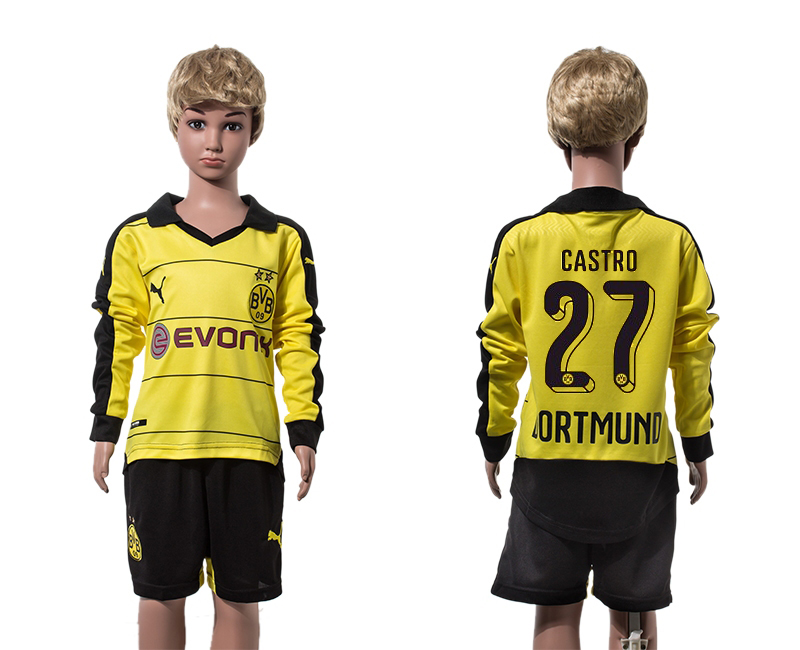 2015-16 Dortmund 27 CASTRO Home Youth Long Sleeve Jersey