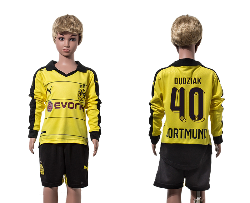 2015-16 Dortmund 40 DUDZIAK Home Youth Long Sleeve Jersey