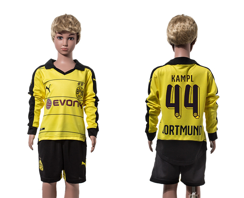 2015-16 Dortmund 44 KAMPL Home Youth Long Sleeve Jersey