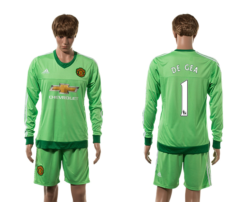 2015-16 Manchester United 1 DE GEA Goalkeeper Home Long Sleeve Jersey