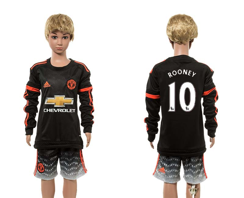 2015-16 Manchester United 10 ROONEY Third Away Youth Long Sleeve Jersey