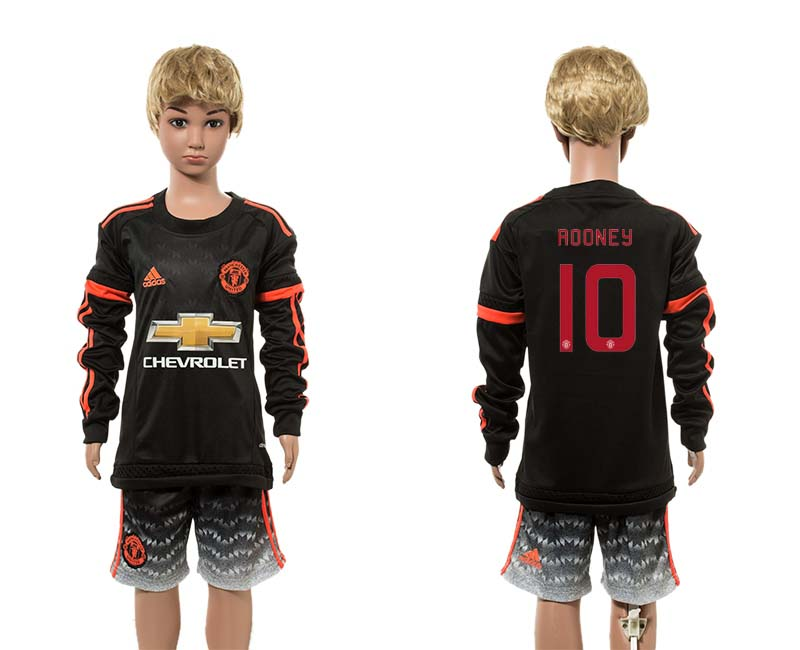 2015-16 Manchester United 10 ROONEY Third Away Youth UEFA Champions League Long Sleeve Jersey