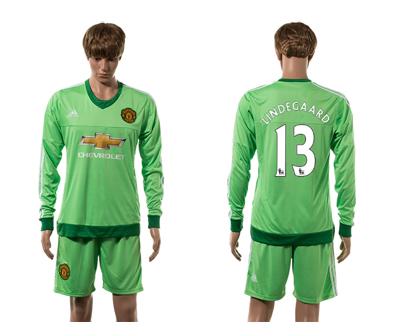 2015-16 Manchester United 13 LINDEGAARD Goalkeeper Home Long Sleeve Jersey
