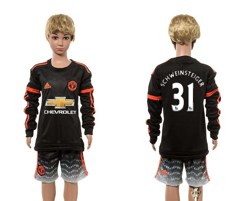 2015-16 Manchester United 31 SCHWEINSTEIGER Third Away Youth Long Sleeve Jersey