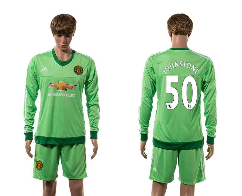 2015-16 Manchester United 50 JOHNSTONE Goalkeeper Home Long Sleeve Jersey
