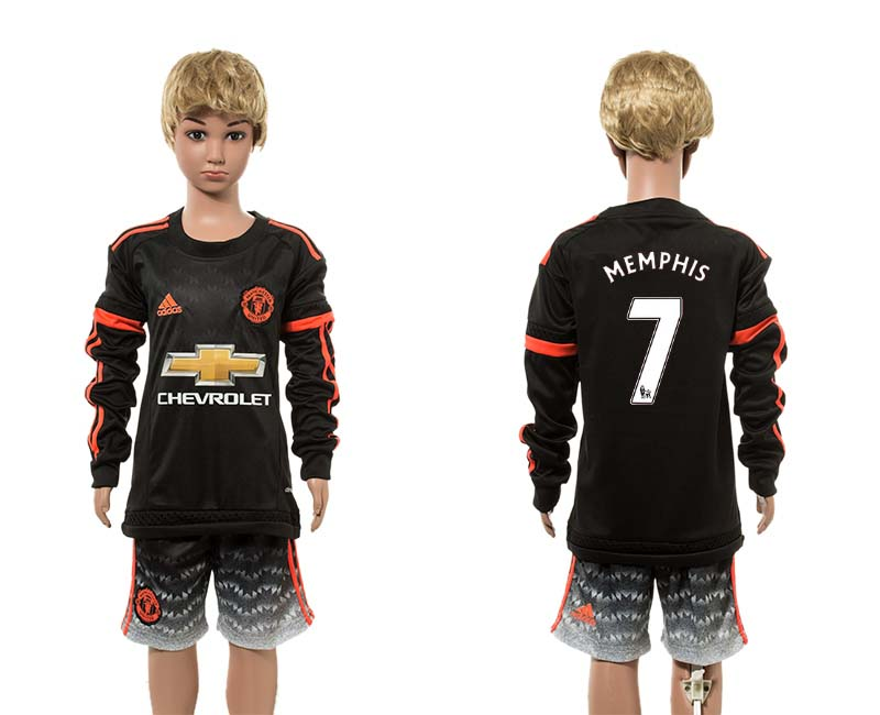 2015-16 Manchester United 7 MEMPHIS Third Away Youth Long Sleeve Jersey