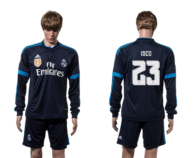 2015-16 Real Madrid 23 ISCO 2014 FIFA Club World Cup Champions Third Away Long Sleeve Jersey