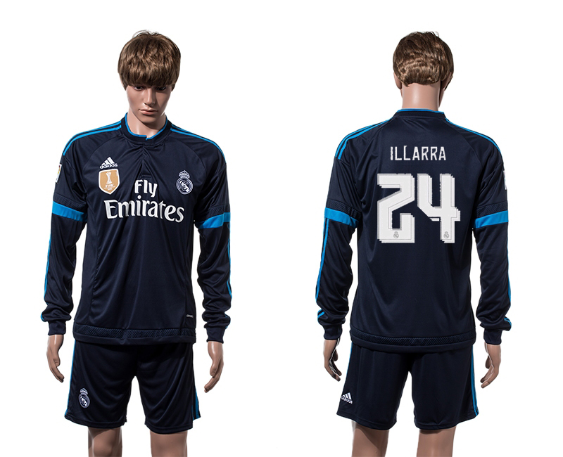2015-16 Real Madrid 24 ILLARRA 2014 FIFA Club World Cup Champions Third Away Long Sleeve Jersey