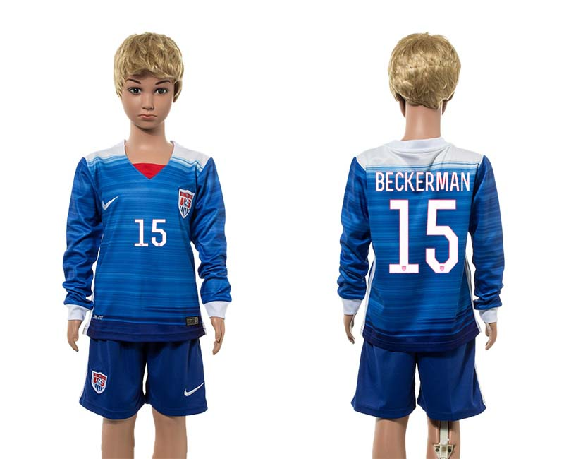 2015-16 USA 15 BECKERMAN Away Youth Jersey
