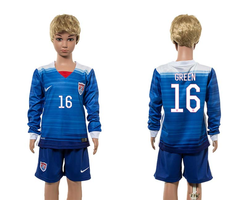 2015-16 USA 16 GREEN Away Youth Jersey