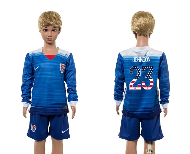 2015-16 USA 23 JOHNSON Away Youth Independence Day Jersey