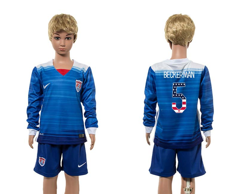 2015-16 USA 5 BECKERMAN Away Youth Independence Day Jersey