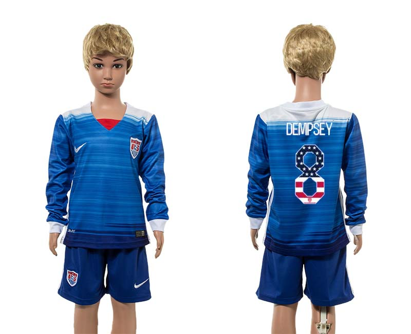 2015-16 USA 8 DEMPSEY Away Youth Independence Day Jersey