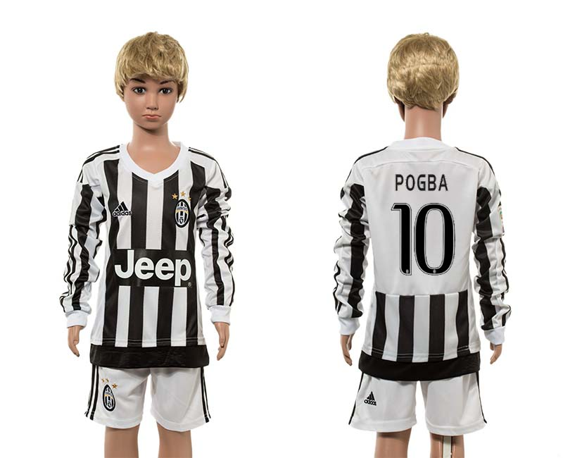 2015-16 Juventus 10 POGBA Home Youth Long Sleeve Jersey